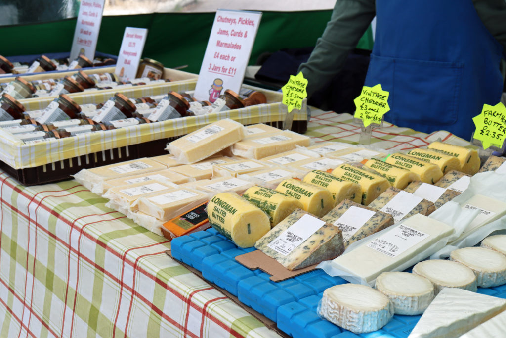 Cheese for sale at Swanage Market