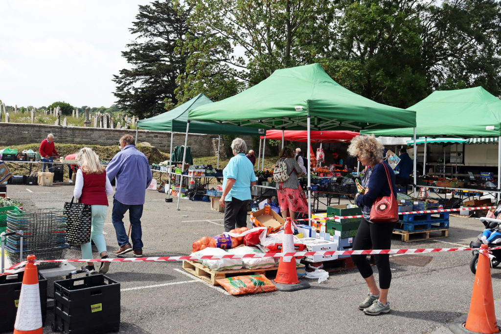 People queuing at Swanage Market