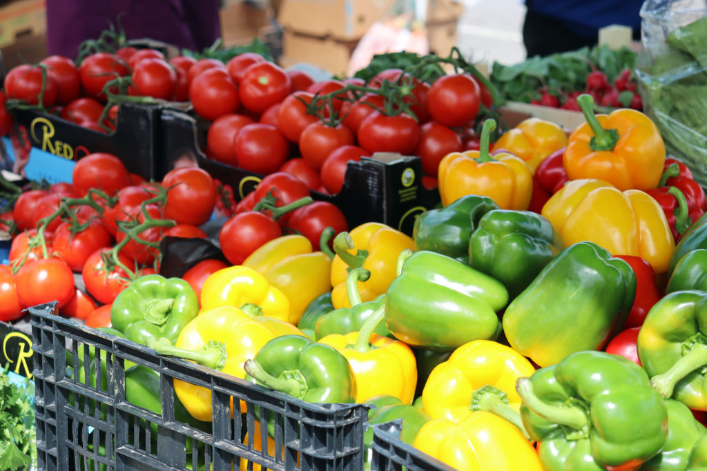 Peppers and tomatoes at Swanage Market