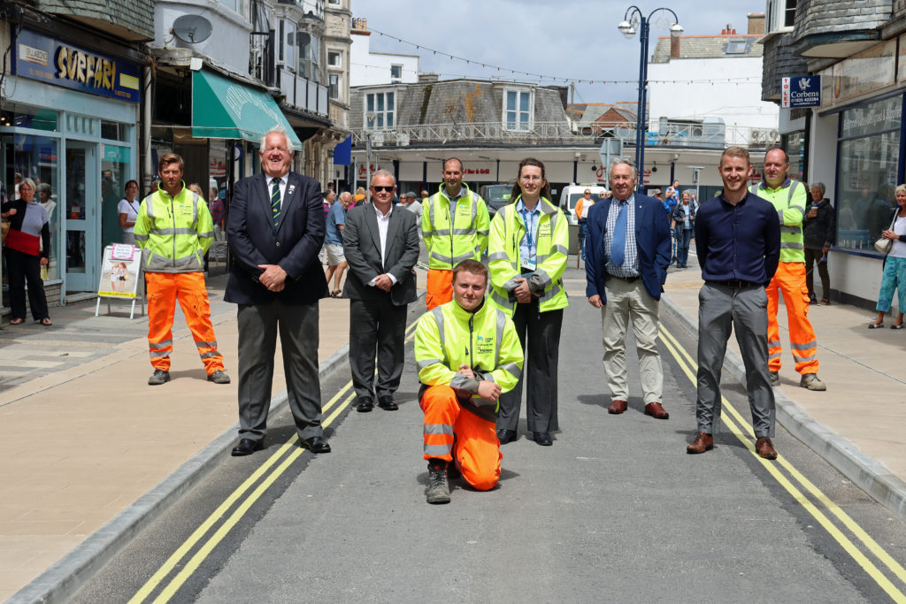 The team that completed the Swanage town centre improvement project.