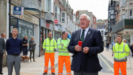 The Swanage Town Mayor, Mike Bonfield officially opens the town centre improvement works