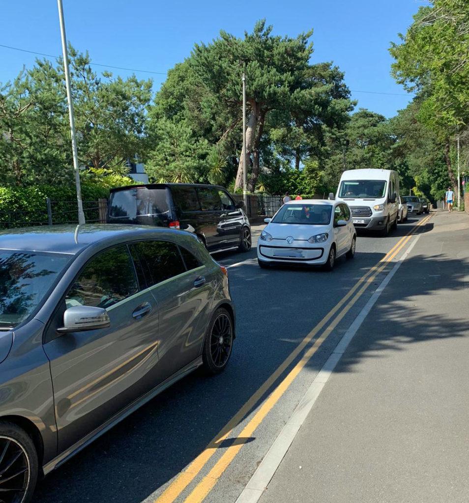 Traffic queues on Haven Road in Sandbanks