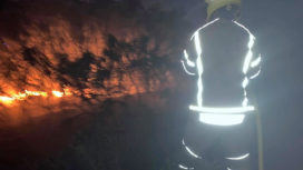 Firefighter at Winfrith Heath fire