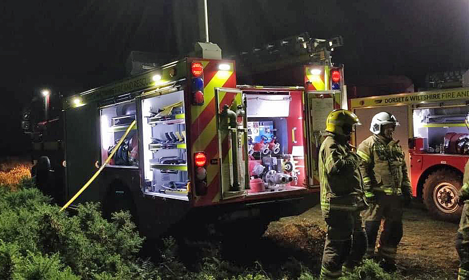 Fire fighters at Winfrith Heath fire