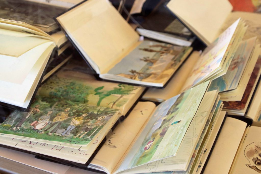 Sketchbooks by Tony Kerins on display at the Fine Foundation Gallery