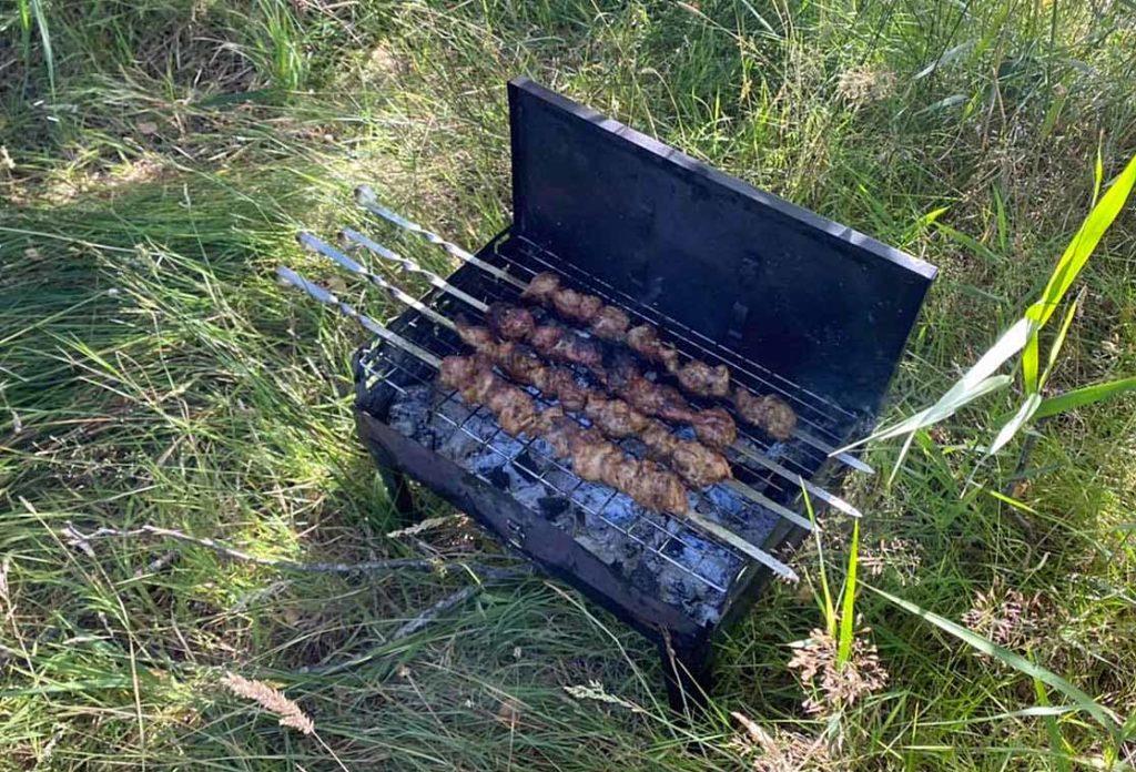 Barbecue among grass at Studland