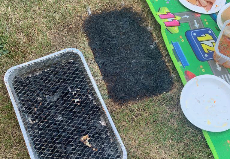 Disposable barbecue causing grass to burn