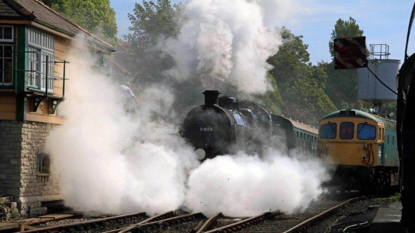 First steam train since lockdown leaves Swanage Station