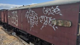 Graffiti on railway carriage