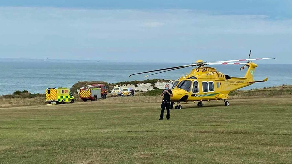 Old Harry Rocks cliff rescue of woman
