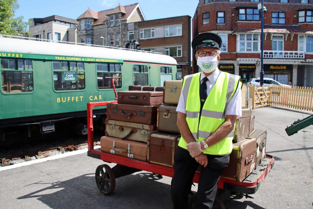 Guard at reopening of Swanage Railway