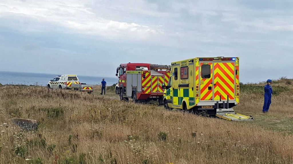 Rescue teams at Old Harry Rocks