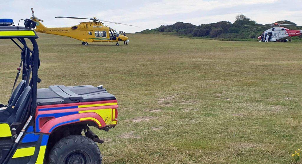 Rescue teams at Old Harry Rocks