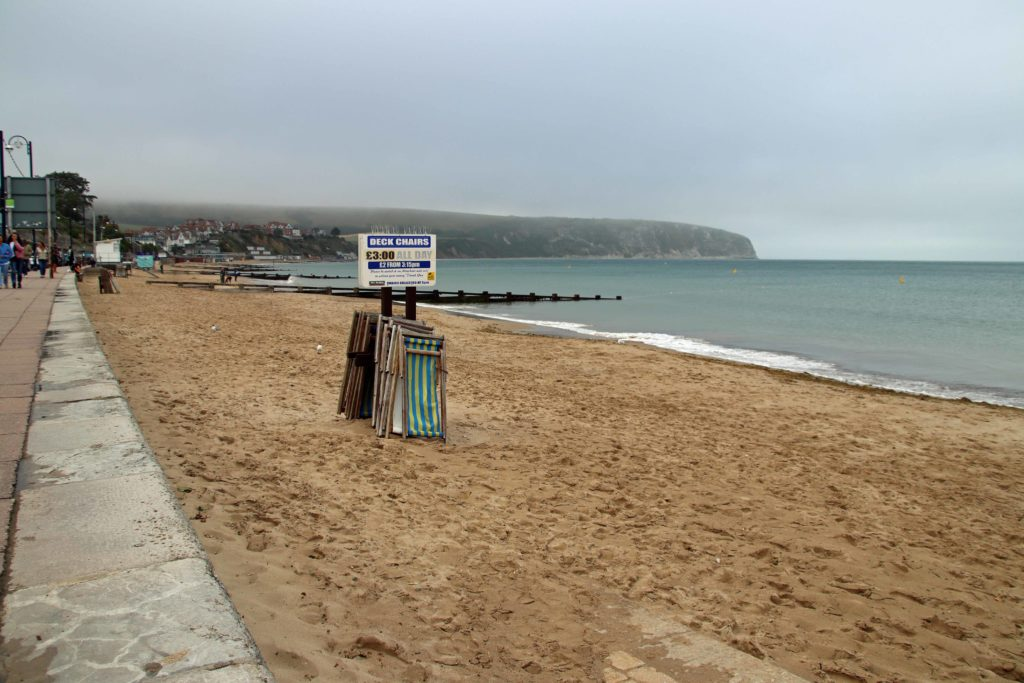 Swanage beach on a wet day