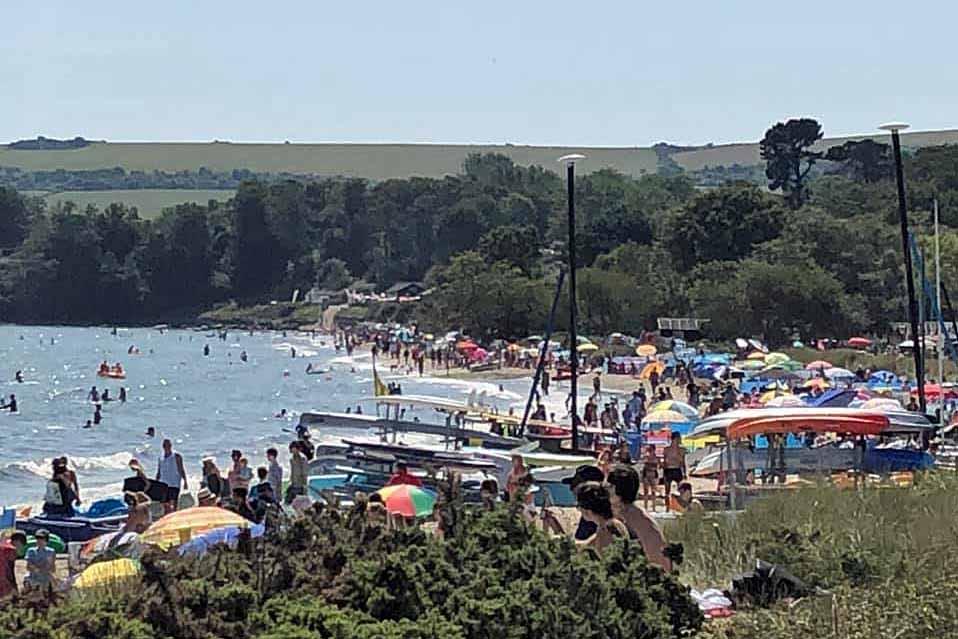 A crowded Studland beach