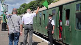 The Mayor waves off the first train at Swanage Railway after lockdown