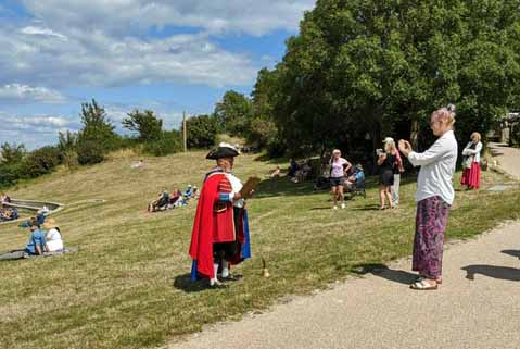 Swanage Town Crier being filmed via Zoom
