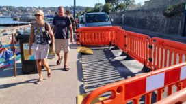 Barriers to allow for social distancing on Shore Road