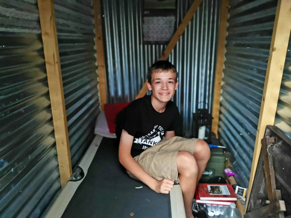 Ben inside his air raid shelter