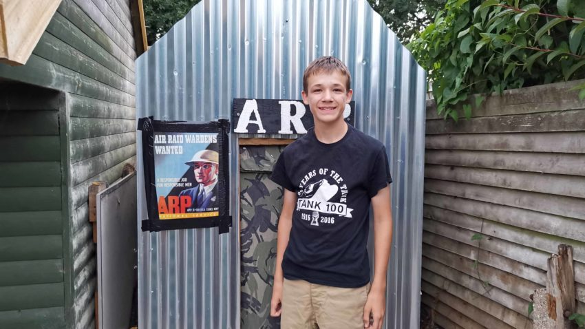 Ben outside his air raid shelter