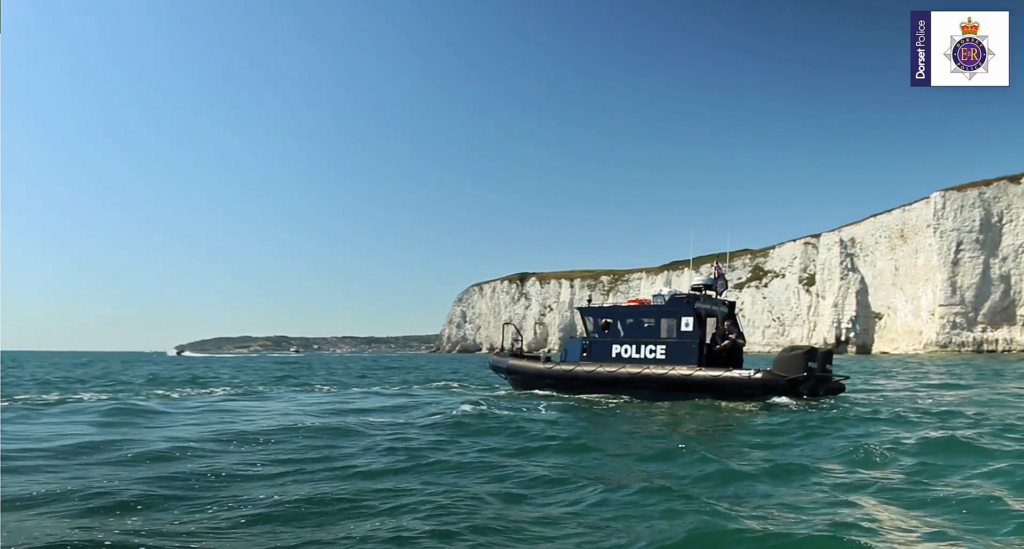 Dorset Police boat at Old Harry Rocks