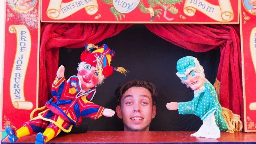 Joe Burns with his Punch and Judy show