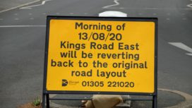 Road sign at Kings Road East