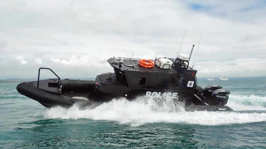 Police boat undergoing sea trials
