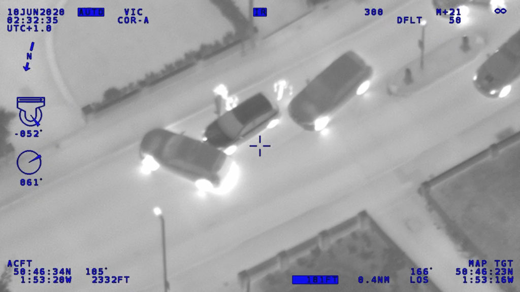 Helicopter footage of police arresting Coby Eke