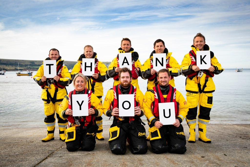 Lifeboat crew saying Thank You
