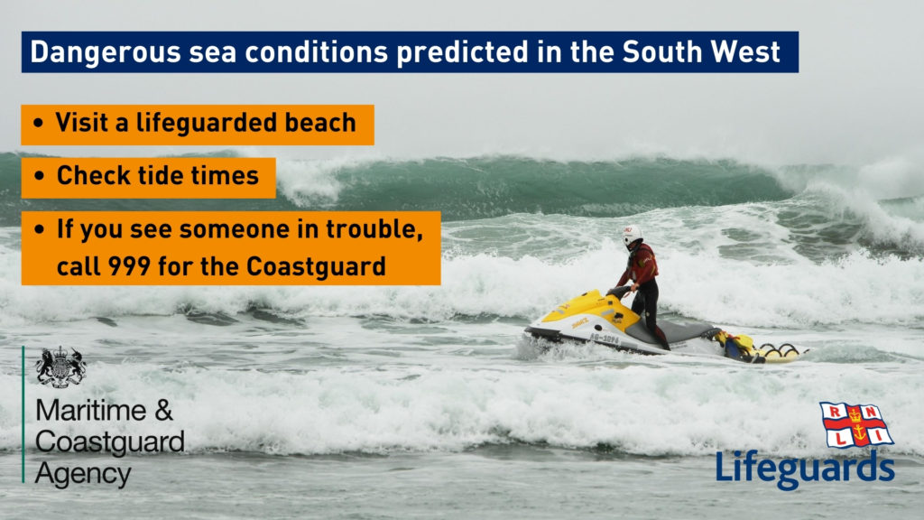 RNLI poster warning of dangerous sea conditions