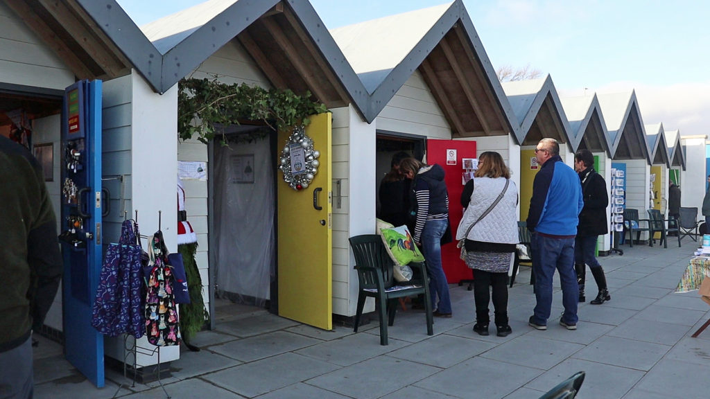 Beach huts during Artisans on the Beach event