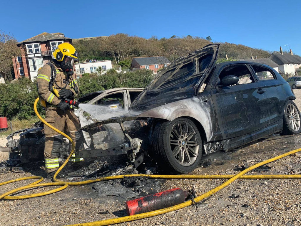 Burnt out cars at Lulwoth car park