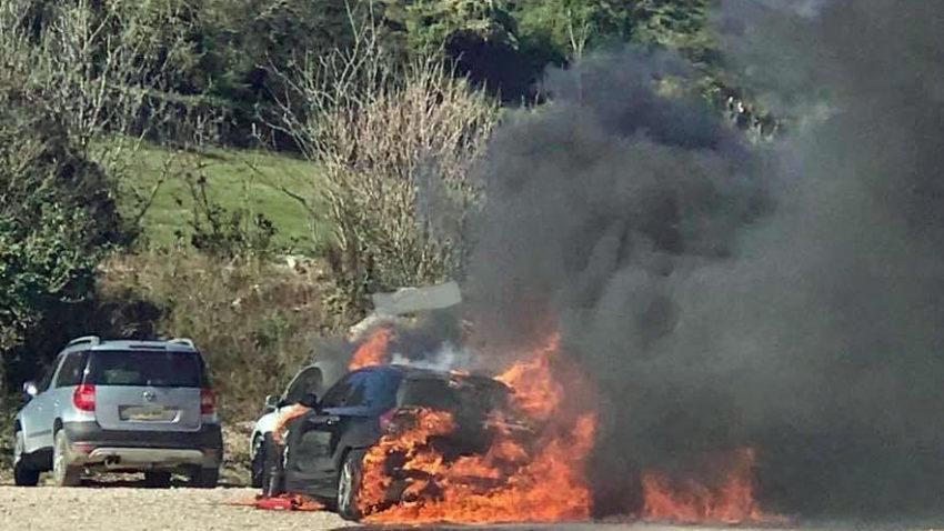 Cars on fire at Lulworth car park
