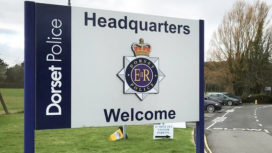 Welcome sign at Dorset Police HQ
