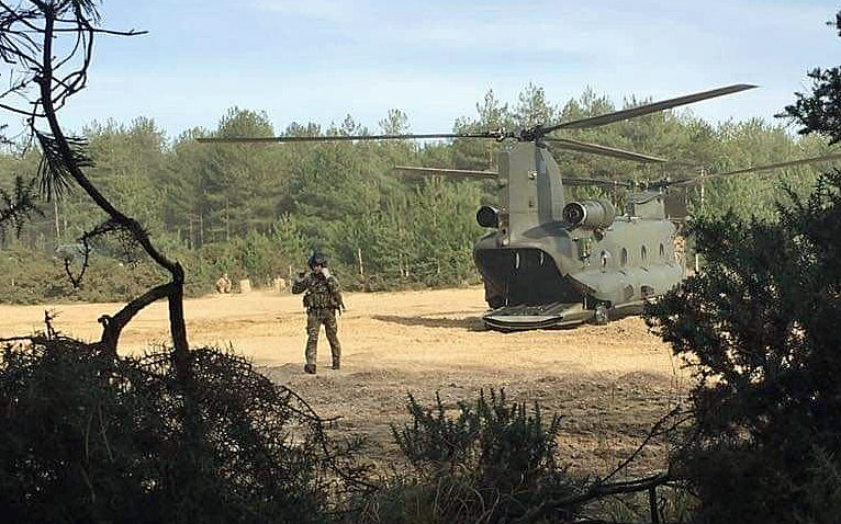 Military helicopter on training exercise