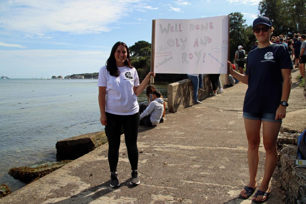 Supporters greet Oly and Roy art the end of the challenge