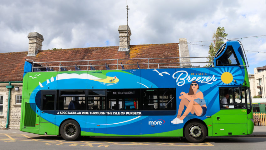 Purbeck Breezer bus at Swanage Bus Station