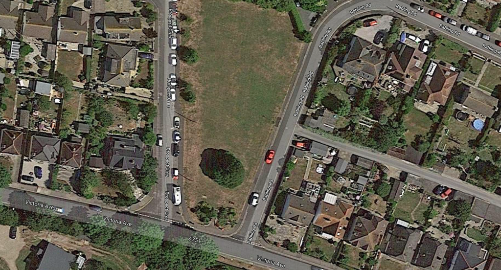 Aerial image of Rabling Green - the site of the new park