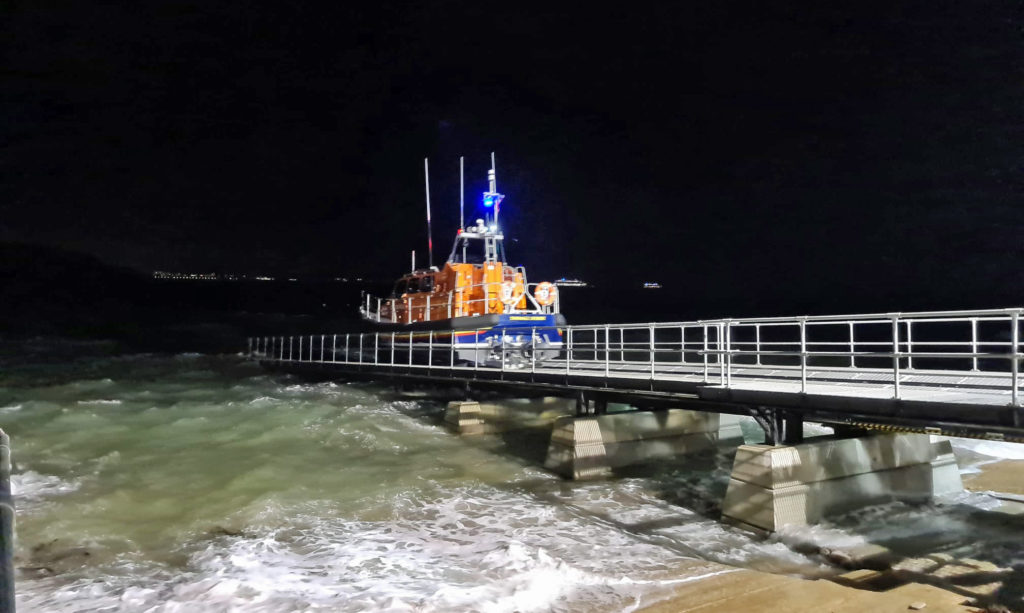 Swanage Lifeboat launching at night