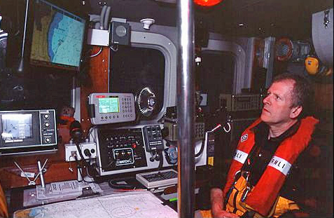 Dave Corben in his favourite seat on the lifeboat, the Navigator seat.