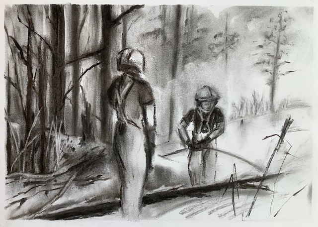 Firefighters, Carol Trevarton, Charcoal from the Debris