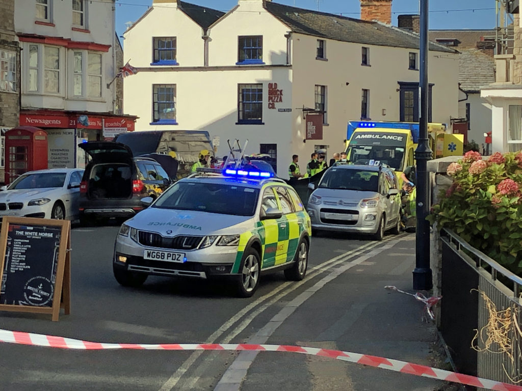 Ambulance car at Incident in high street swanage