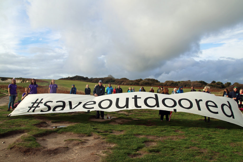 Outdoor industry protest at Old Harry Rocks