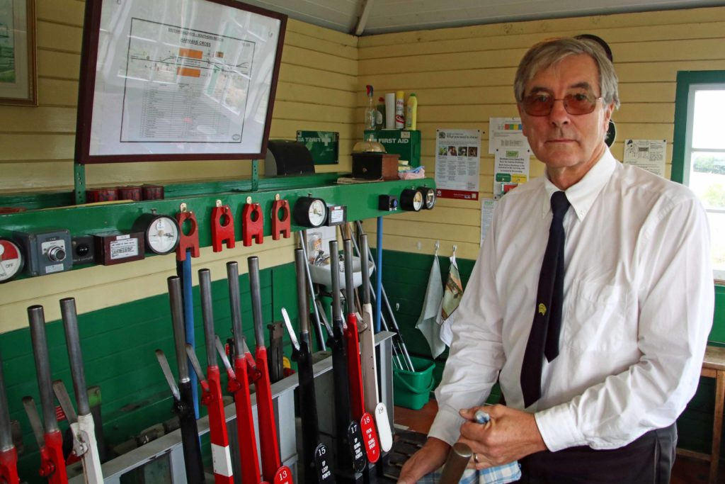 Randy Coldham in the signal box at Swanage Railway