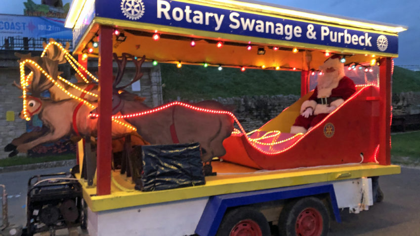 Santa on a sleigh in Swanage