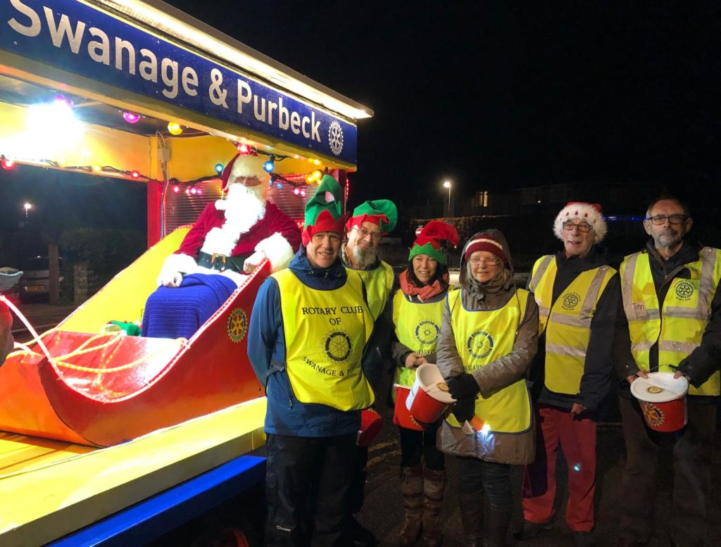 Santa on a sleigh organised by Swanage Rotary