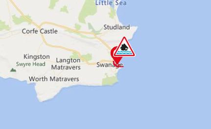 Flood warning for Swanage