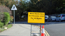 Roadwork sign on Seymer road