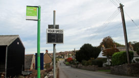 Speed sign in Langton Matravers high street